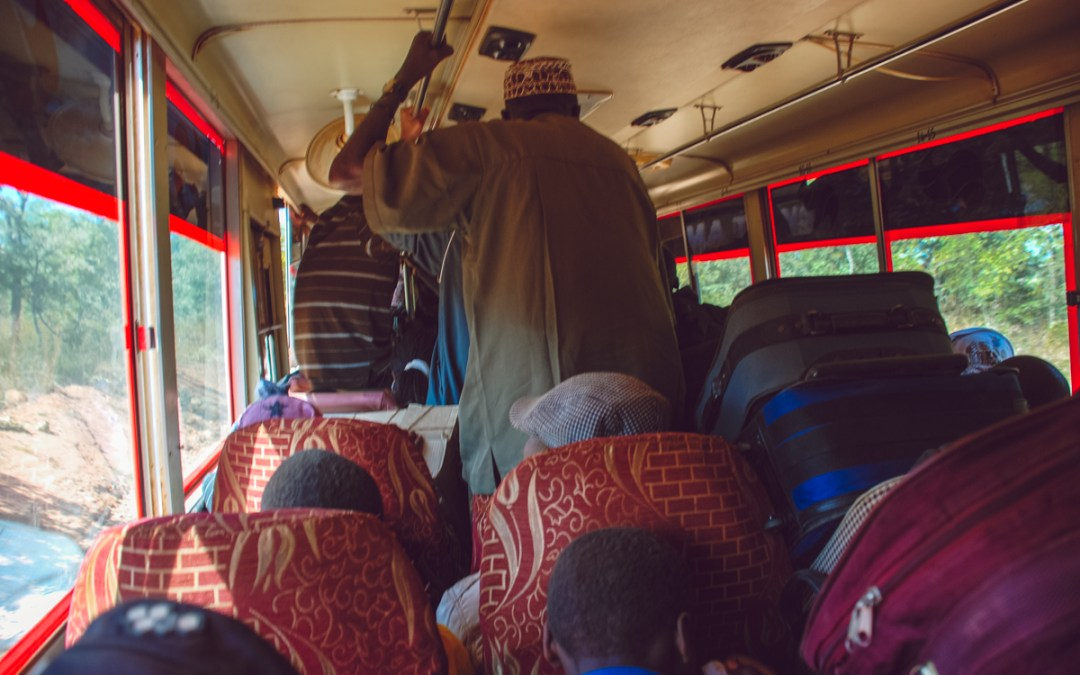 on a bus in Tanzania
