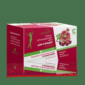 195429 Gelatina de cereza y granada con Colágeno, tianDe, 252 g (21 x 12g), Complemento alimenticio