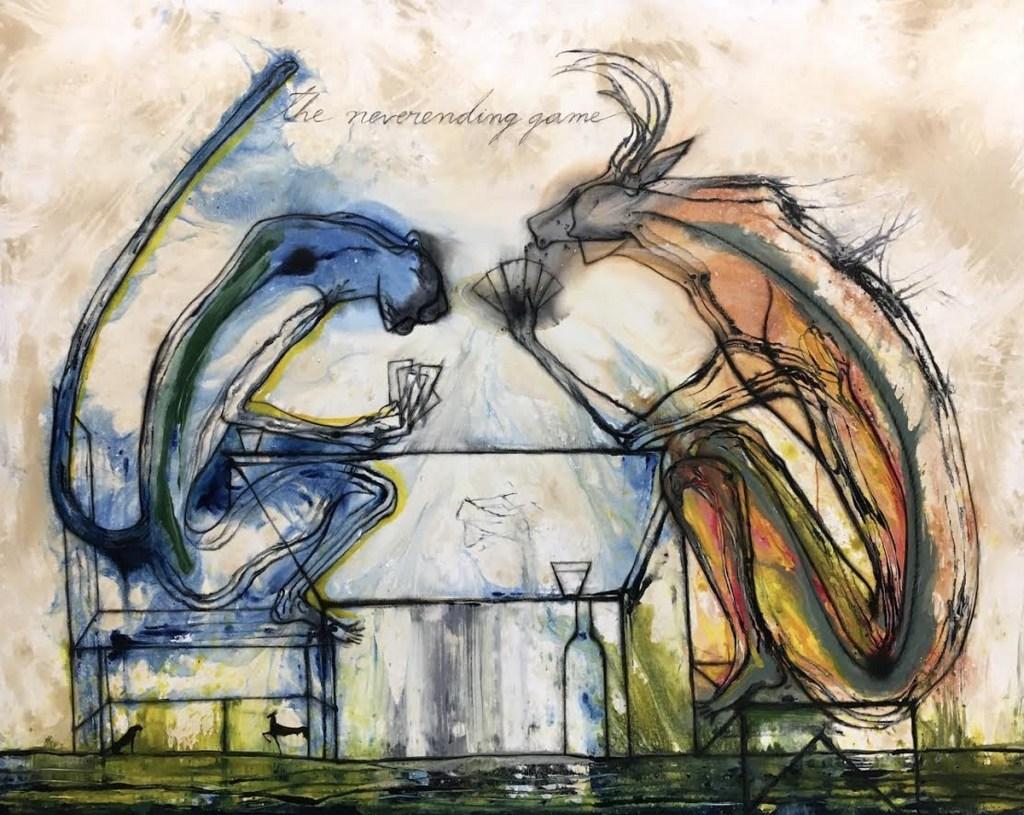 Le jeu sans fin, 2019, acrylique sur toile, José Bedia