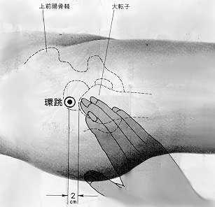 Entoure et fait bondir, 環跳 huán tiào, est le trentième point duméridien de la vésicule biliaire.