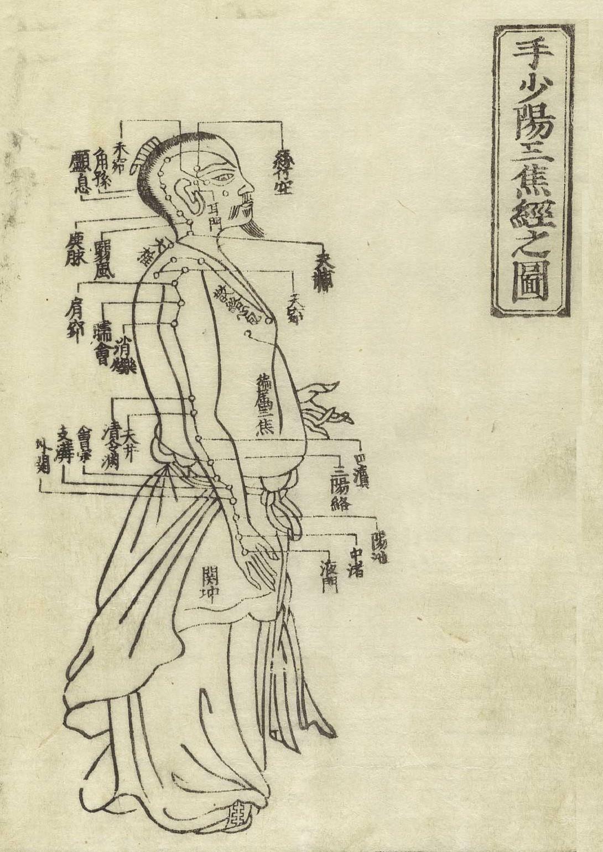 Gravure sur bois montrant le méridien du triple réchauffeur shaoyang de la main d'un homme debout de profil portant un pagne avec le méridien indiqués sur les bras et la poitrine, donnant les noms des points avec des caractères chinois, du Jushikei Hakki de Hua Shou, 1716.