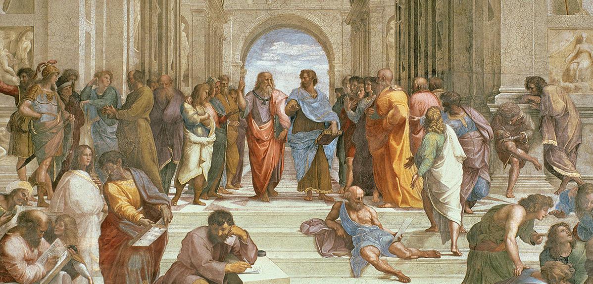 Détail de l'Ecole d'Athènes, fresque du peintre Raphaël (1483-1520).