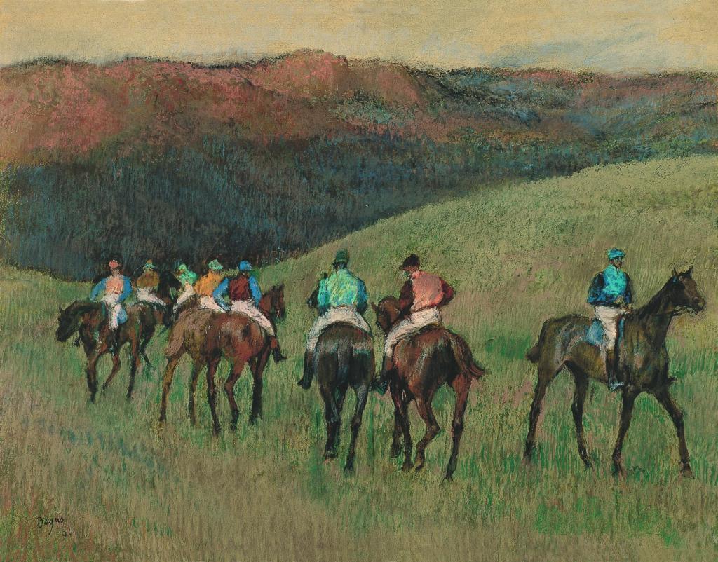 Chevaux de course dans un paysage, Edgar Degas