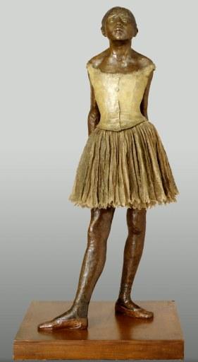 La petite danseuse de quatorze ans, bronze partiellement teinté, tarlatane de coton, satin de soie et bois, Edgar Degas