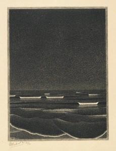 Mer phosphorescente, lithographie de M. C. Escher, 1933