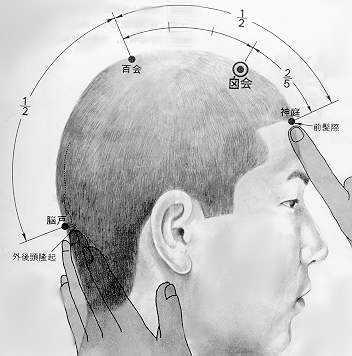 Réunion de la fontanelle, 囟会 xìnghuì, est le vingt deuxième point duvaisseau gouverneur.
