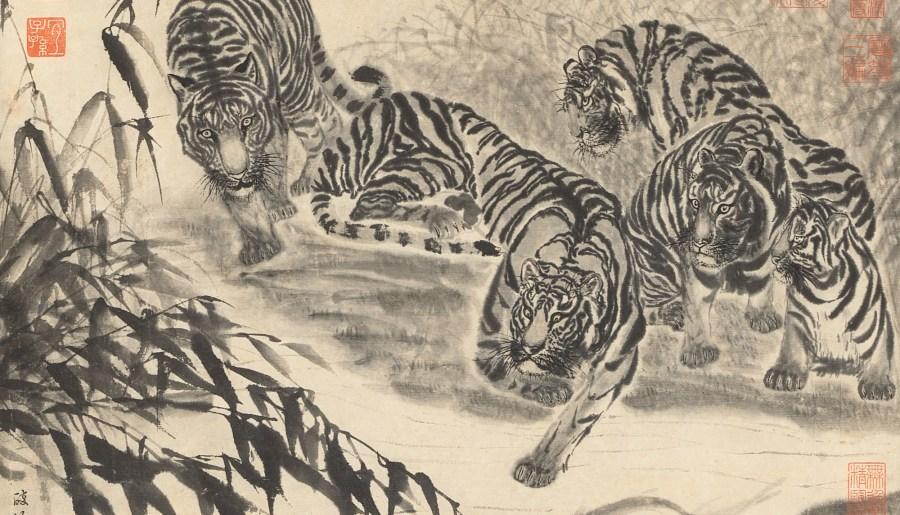 Tigres et poissons, encre sur papier, de Qu Gao, dynastie Ming