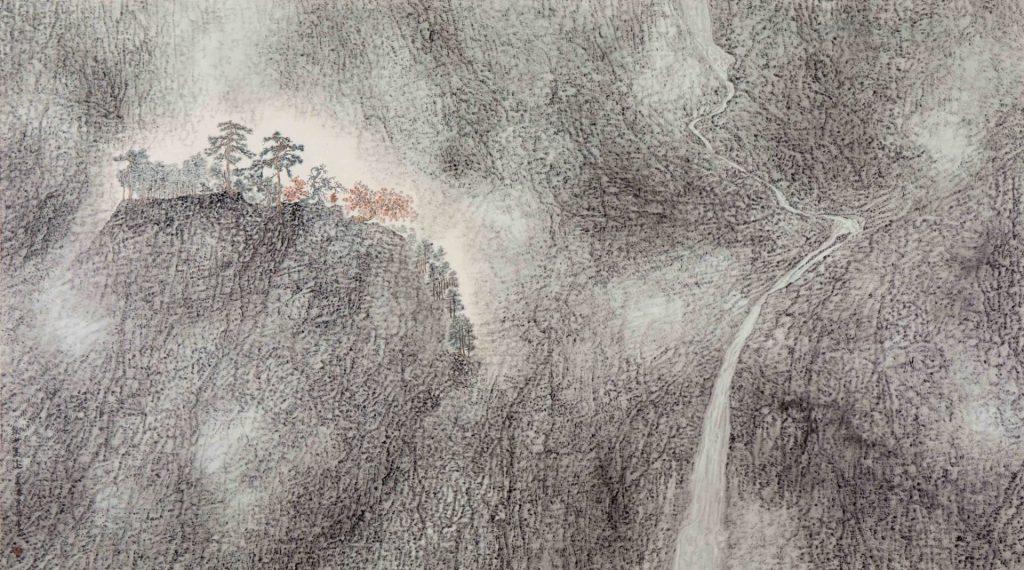 Brumeux et noble, encre & couleur sur papier de GuanZhi
