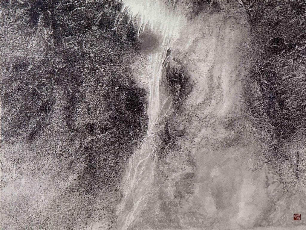 Cascade de soie,  encre & couleur sur papier de GuanZhi