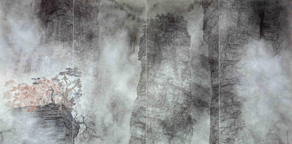 Des pics puissants dans la brume,  encre & couleur sur papier de GuanZhi