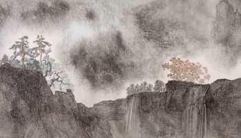La lumière s'accroît à travers les nuages, encre & couleur sur papier de GuanZhi