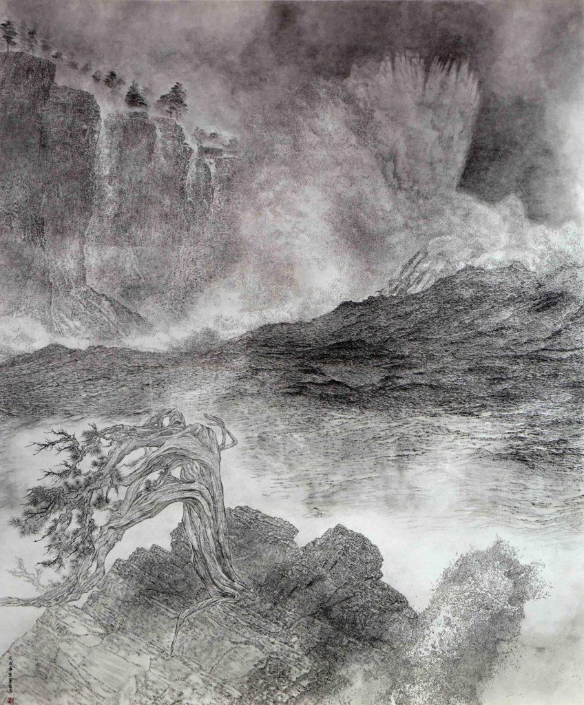 Vagues effrayantes déchirant les falaises, encre & couleur sur papier de GuanZhi
