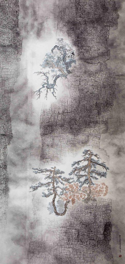 Vallée profonde et retirée, encre & couleur sur papier de GuanZhi
