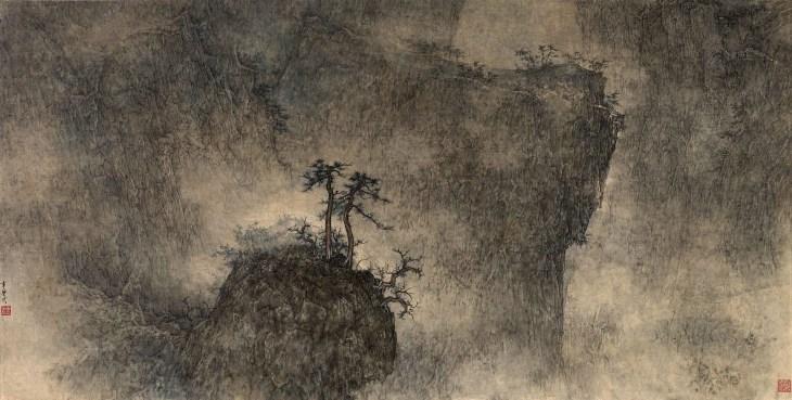 Pins au milieu des sommets, 2014, encre et couleur sur papier de Li Huayi