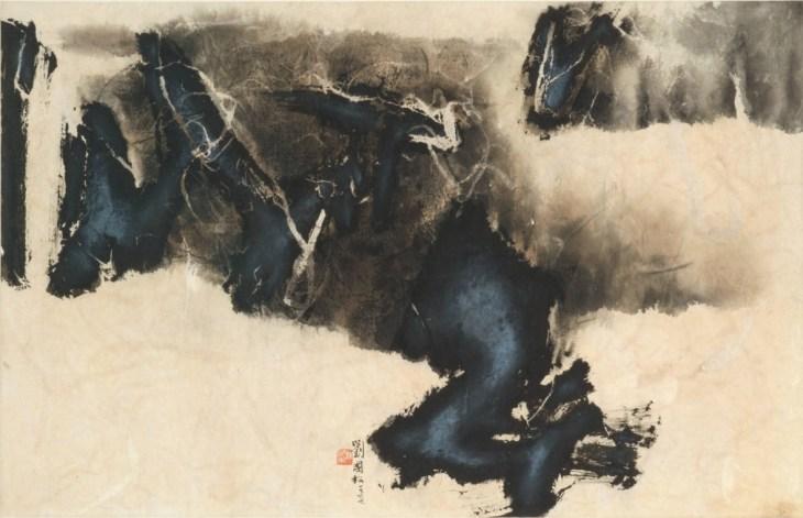 Rêve zen, 1966, encre et couleur claire sur papier de Liu Guosong