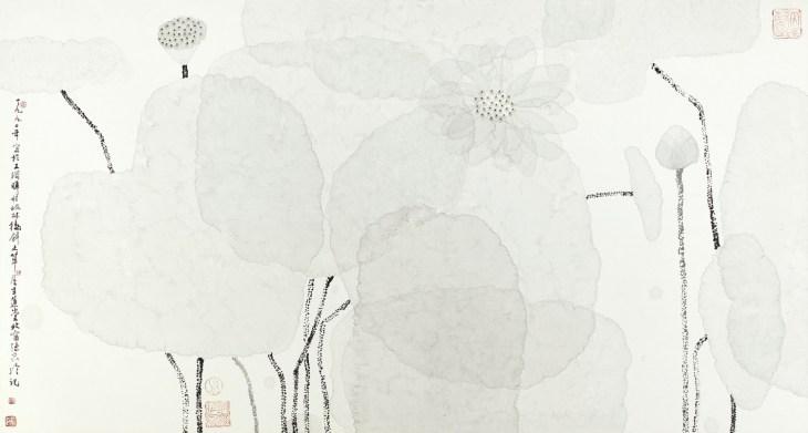 Lotus blanc, encre et couleur sur papier, Chen Jialing