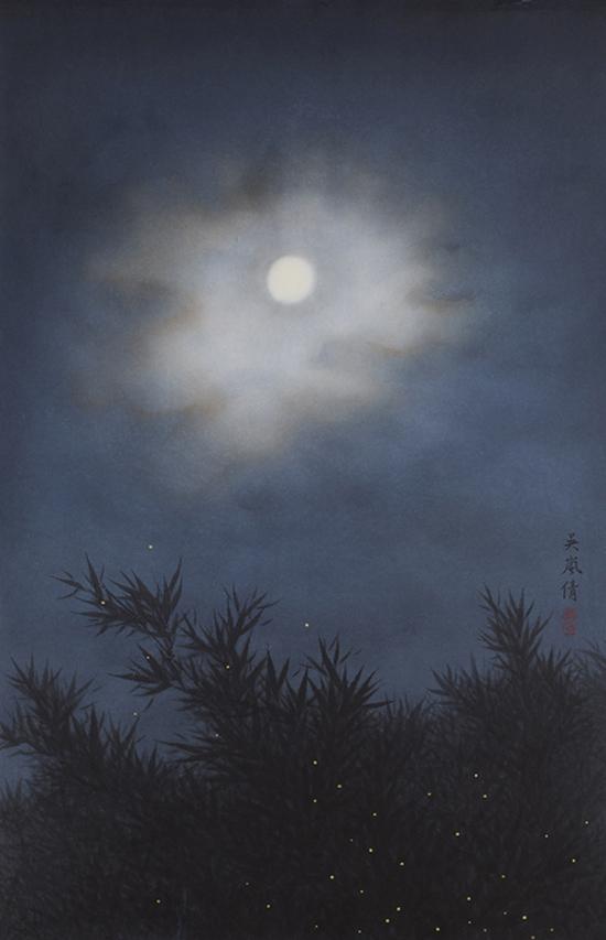 Nuit d'été, encre, pigment et or sur papier de Wu Lan-Chiann