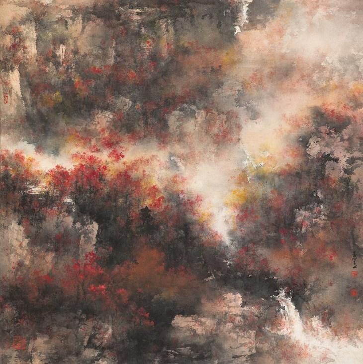 Paysage d'automne, 2014-2015, encre et couleur sur papier de He Baili (1945-)