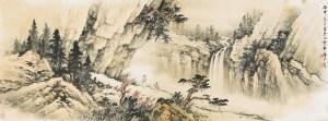 Un lettré rend visite à un ami, 1956, encre et couleur sur papier de Huang Junbi