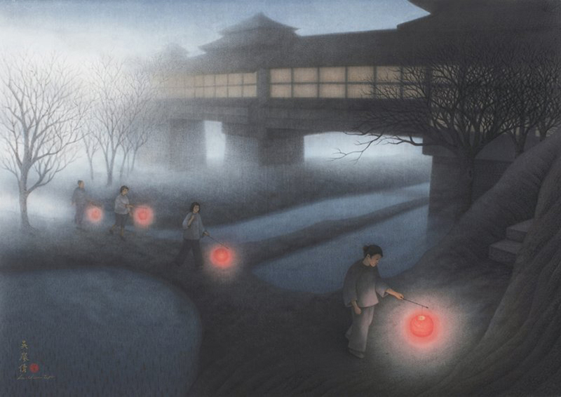 Une nouvelle aube, encre, pigment sur papier de Wu Lan-Chiann