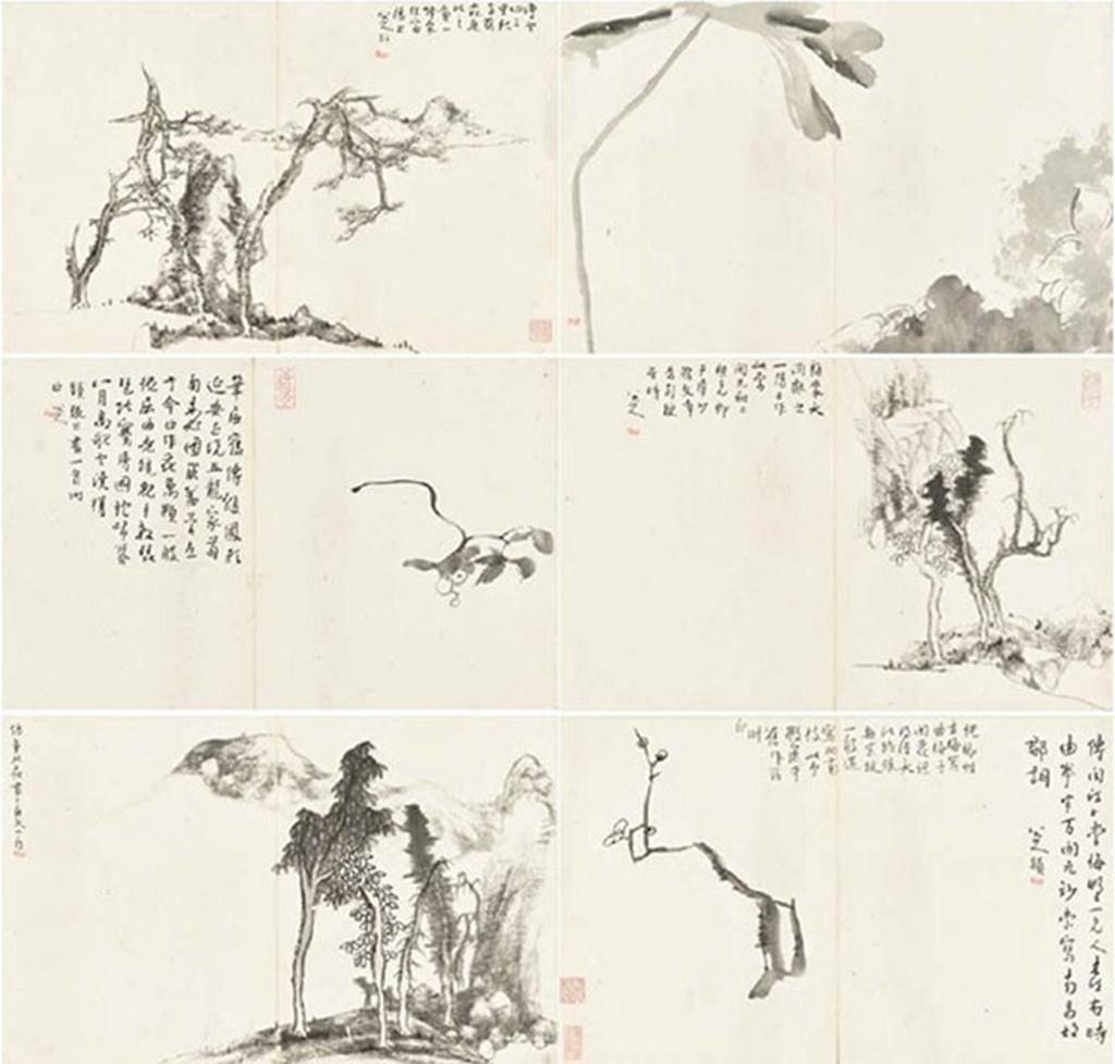 Paysages et fleurs, album de six feuilles, encre sur papier, Bada Shanren
