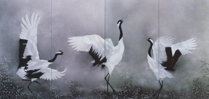 Grues japonaises, peinture sur paravent, Kayama Matazō