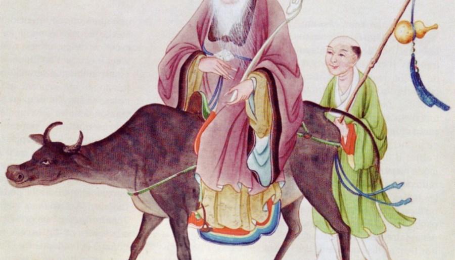 Lao Zi sur son buffle, suivi par un disciple