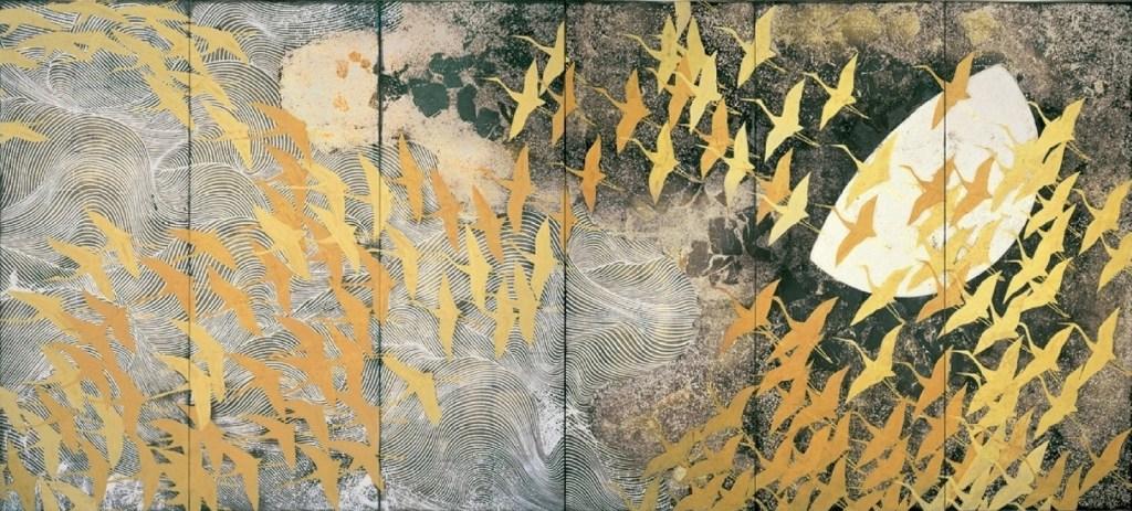 Un millier de grues, second paravent à six panneaux, couleur sur soie, Kayama Matazo