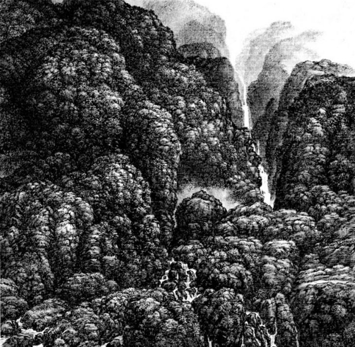 Cascades, 2001, encre sur papier xuan, Hsia I-fu