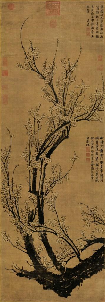 Fleurs de prunier au début du printemps, rouleau suspendu, encre sur soie, Wang Mian,