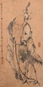 Shou Xing, le dieu de la longévité, accompagné d'un enfant et d'une grue, encre et couleur sur papier, école chinoise du XVIIIe siècle
