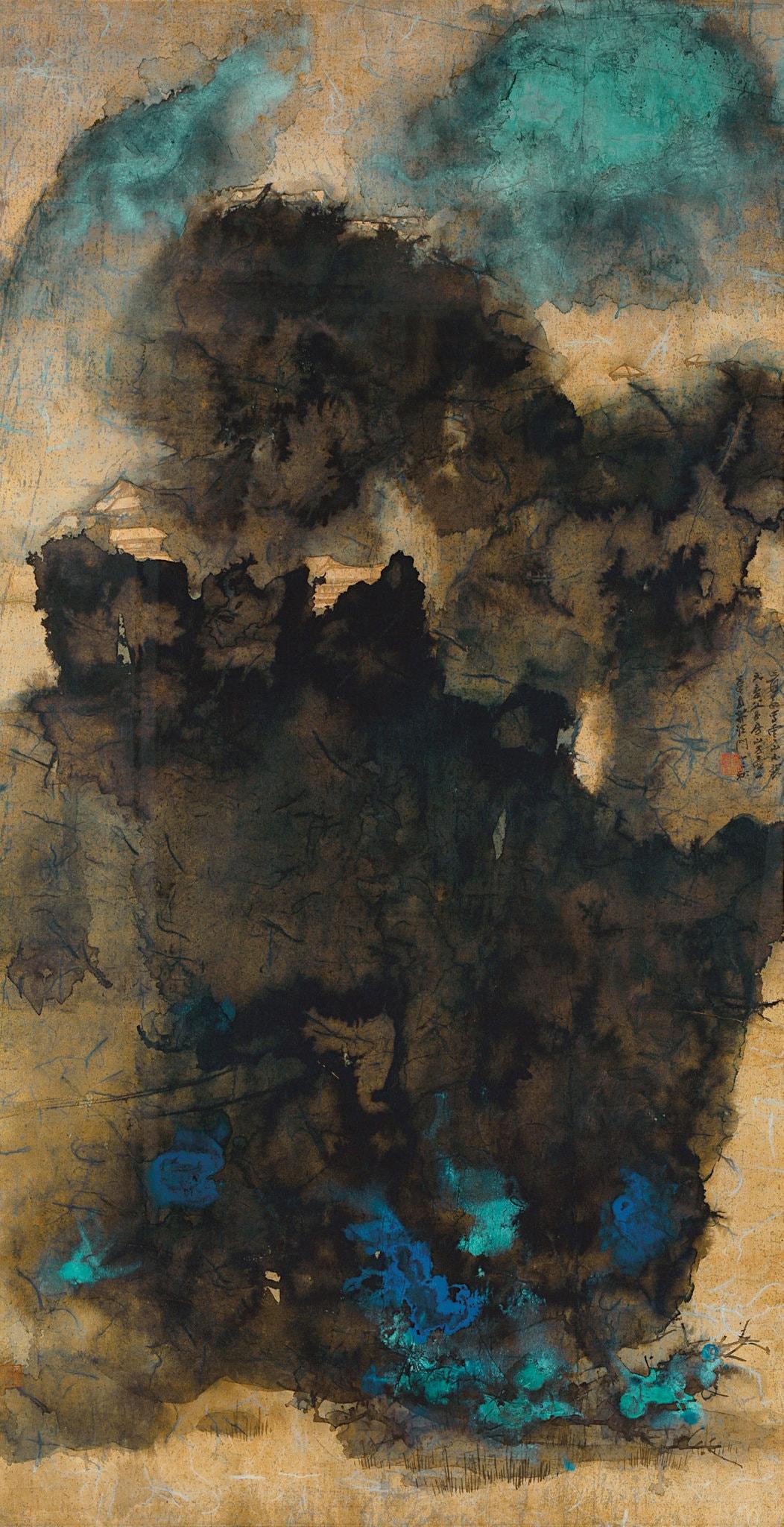 Temples antiques au milieu des nuages, 1965, Zhang Daqian