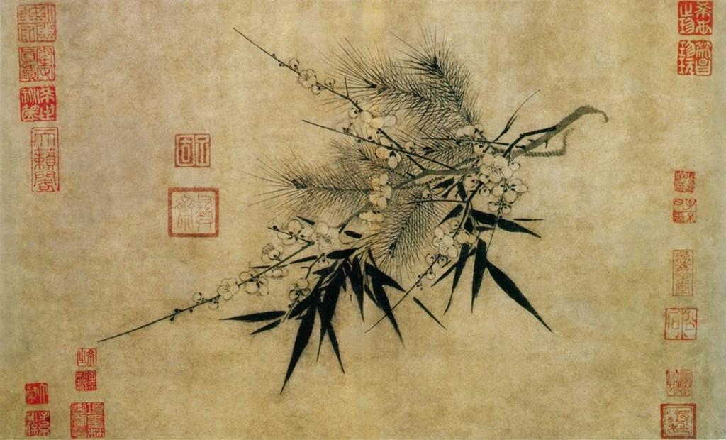 Trois amis de l'hiver, encre sur papier, Zhao Mengjian