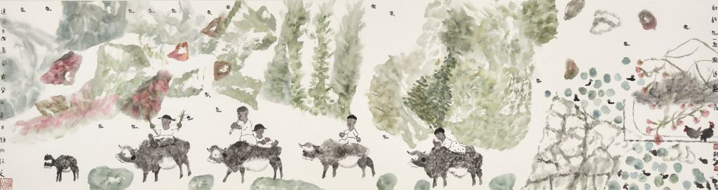 Voyage gai d'une ballade dans la brise, encre et couleur sur papier, 2013, Nie Ou (1948-)