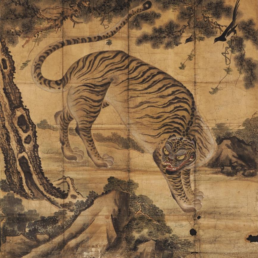 Tigre, encre et couleurs sur papier, dynastie Joseon, Musée national de Corée
