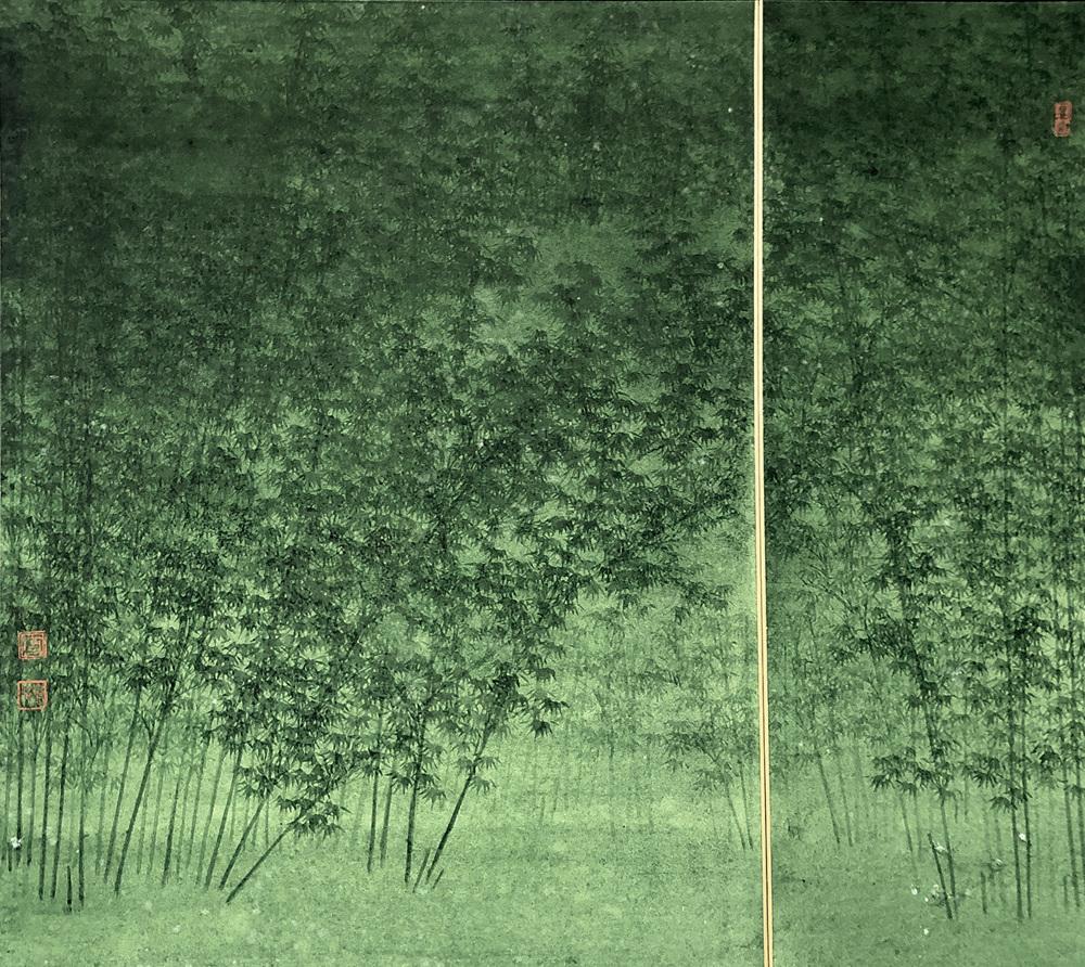 Verdure d'une bambouseraie, 2019, couleur sur shikishi cardboar, Koon Wai Bong