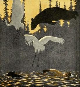 Illustration tirée de La forêt vivante du peintre canadien Arthur Heming