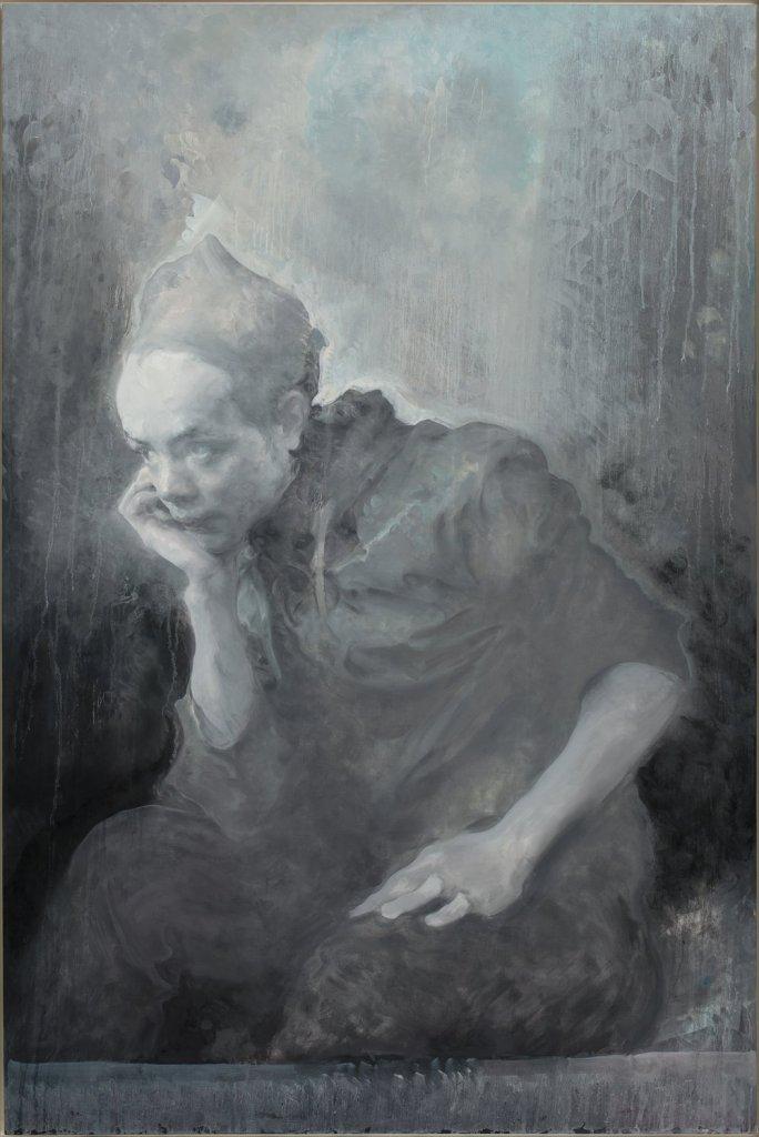 Jeune homme portant un chapeau, 2017, huile sur toile, Mao Yan