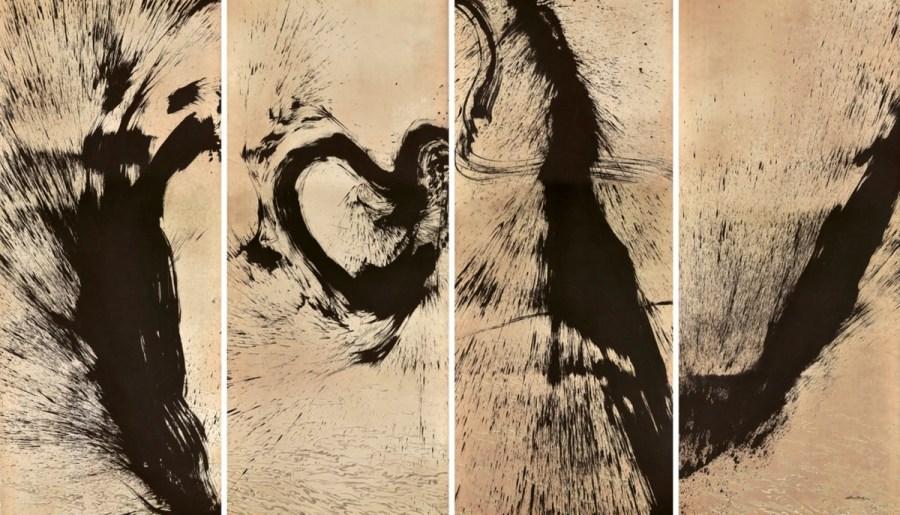 Les quatre saisons, un ensemble de quatre rouleaux, encre, thé et café sur papier céramique, 2012, Qin Feng (1961-)