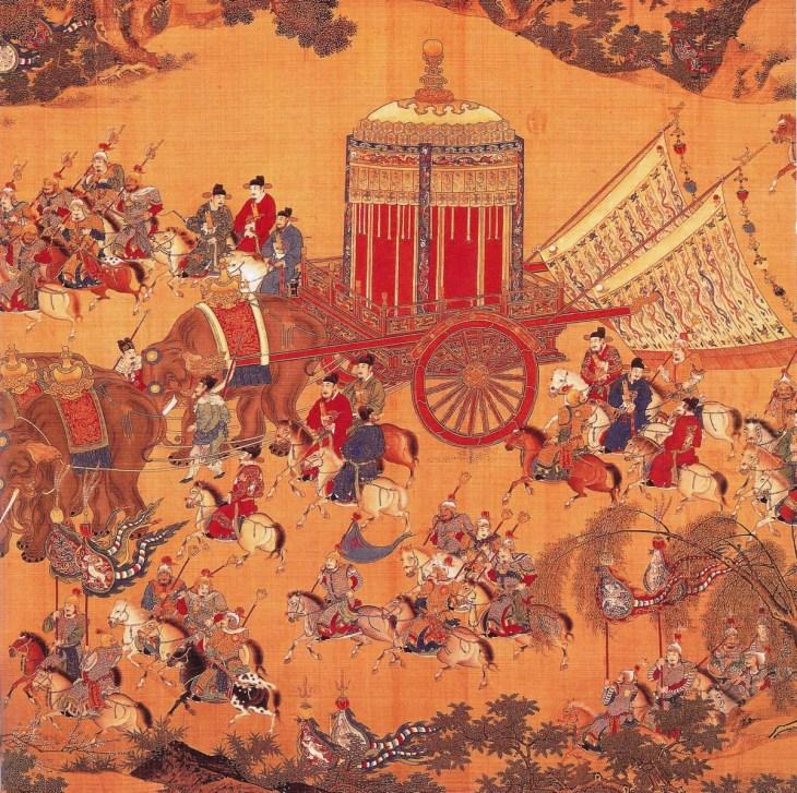 L'approche de l'empereur, détail d'un rouleau de soie