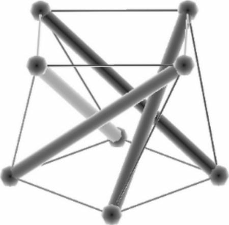 Demi-cuboctaèdre et son état d'autocontrainte correspondant