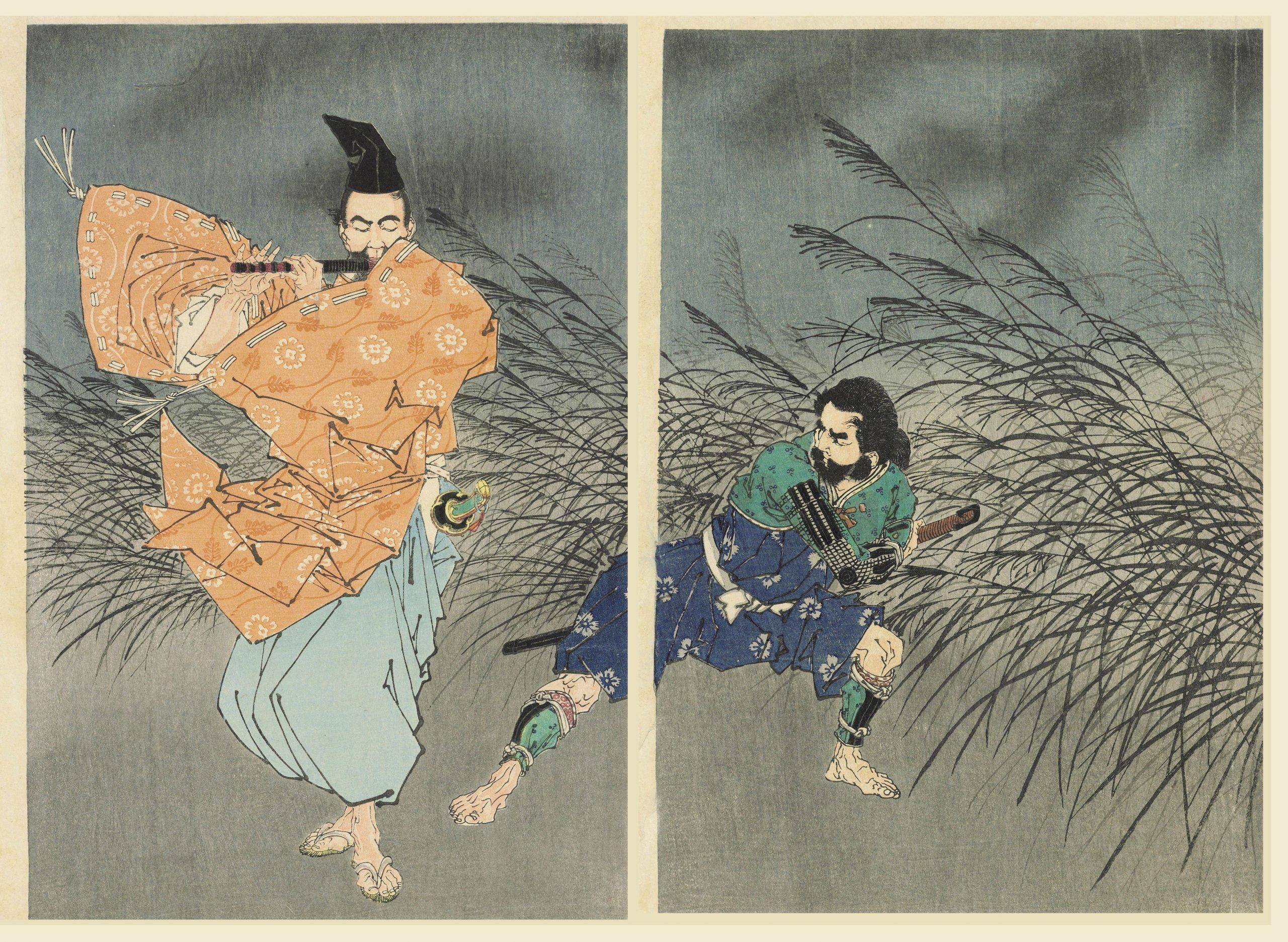 Fujiwara Yasumasa joue de la flûte au clair de lune