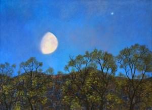 Nuit au clair de lune, huile sur toile, Olga Kvasha