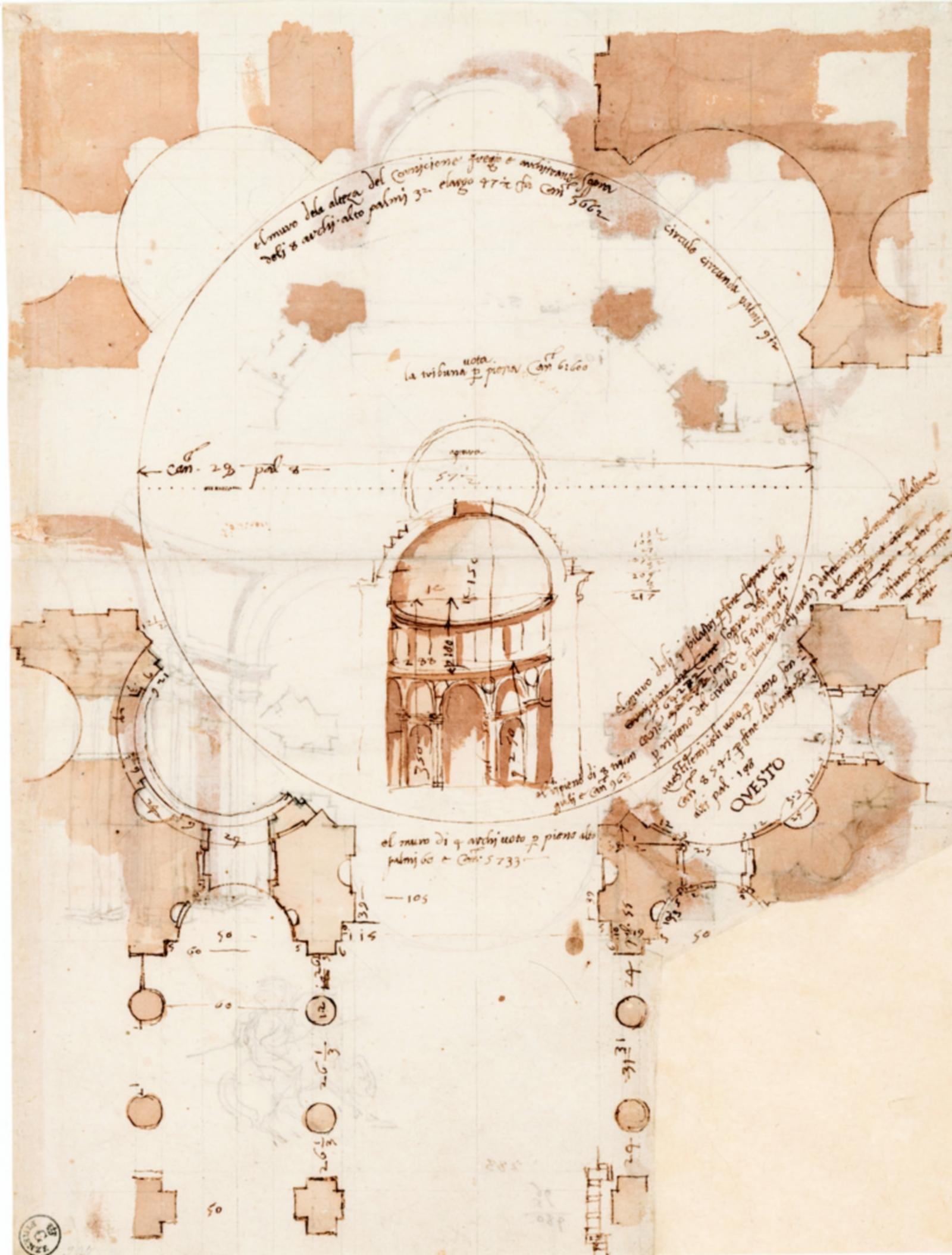 Dessin du début du XVIe siècle de Baldassare Peruzzi réfléchissant à quatre versions, en plan, de niches d'angle pour le carrefour central de Saint-Pierre de Rome.
