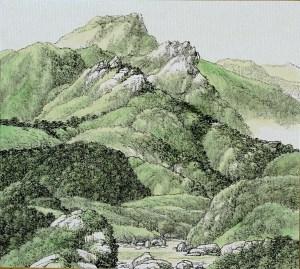 Montagnes vertes, 1999, encre et lavis couleur sur papier Xuan, Hsia I-fu