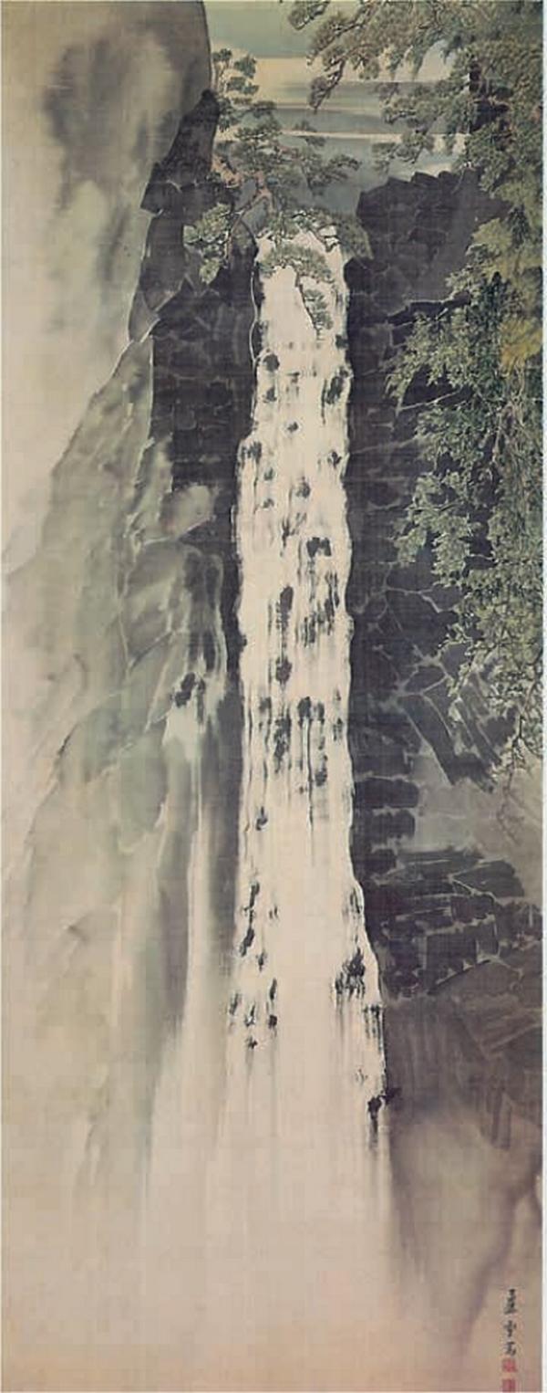 Cascade de Nachi, 1789, paire de rouleaux suspendus, encre et couleur claire sur soie, Nagasawa Rosetsu