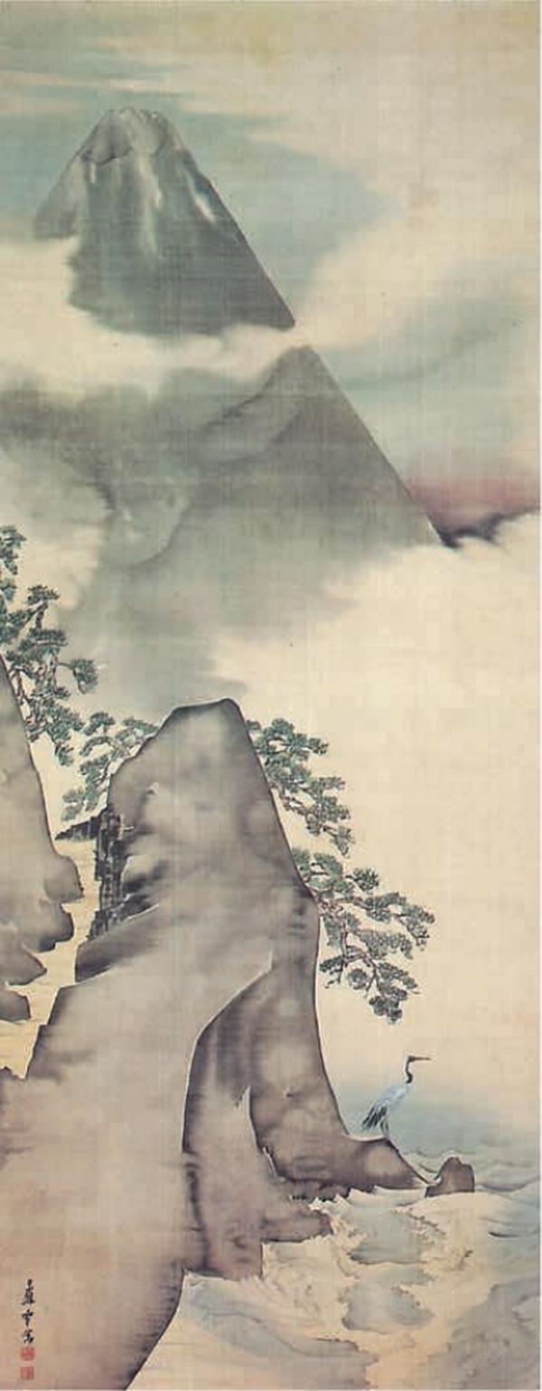 Mont Fuji et col du Sata, 1789, paire de rouleaux suspendus, encre et couleur claire sur soie, Nagasawa Rosetsu