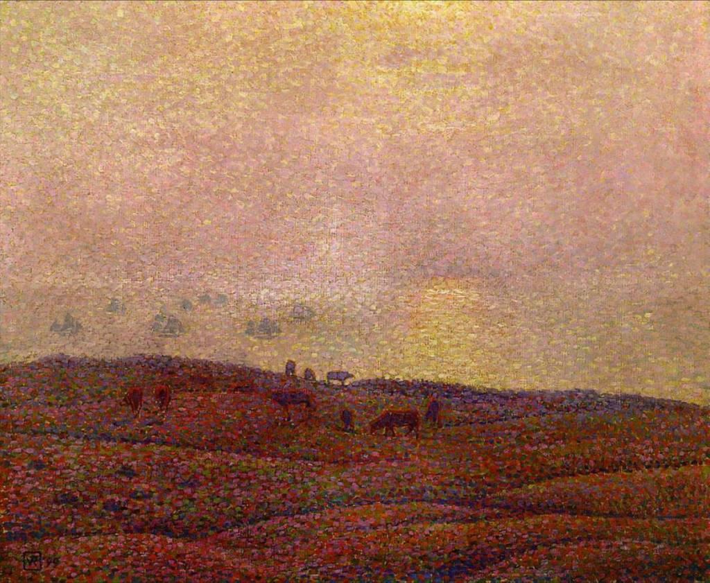 Vaches dans un paysage, 1899, huile sur toile de Theo van Rysselberghe