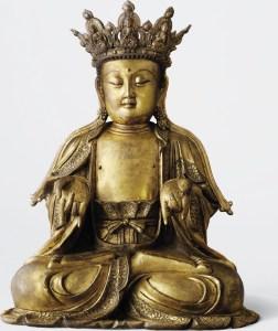 Bouddha couronné assis, en bronze doré, dynastie Ming, XVIe siècle