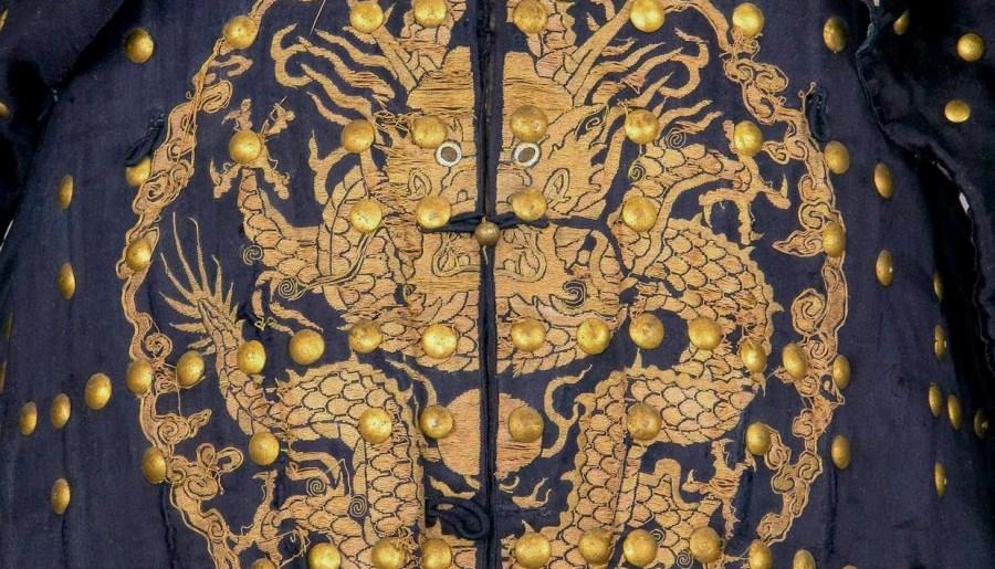 Détail d'une armure bleue d'un général Qing
